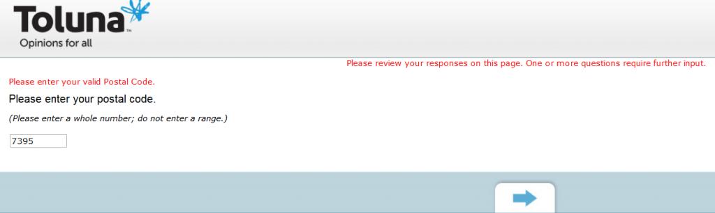 Toluna Survey postal code