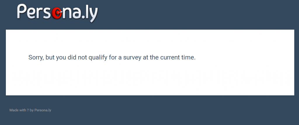 personly survey not available