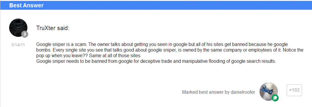 Google Sniper review scam comments 3