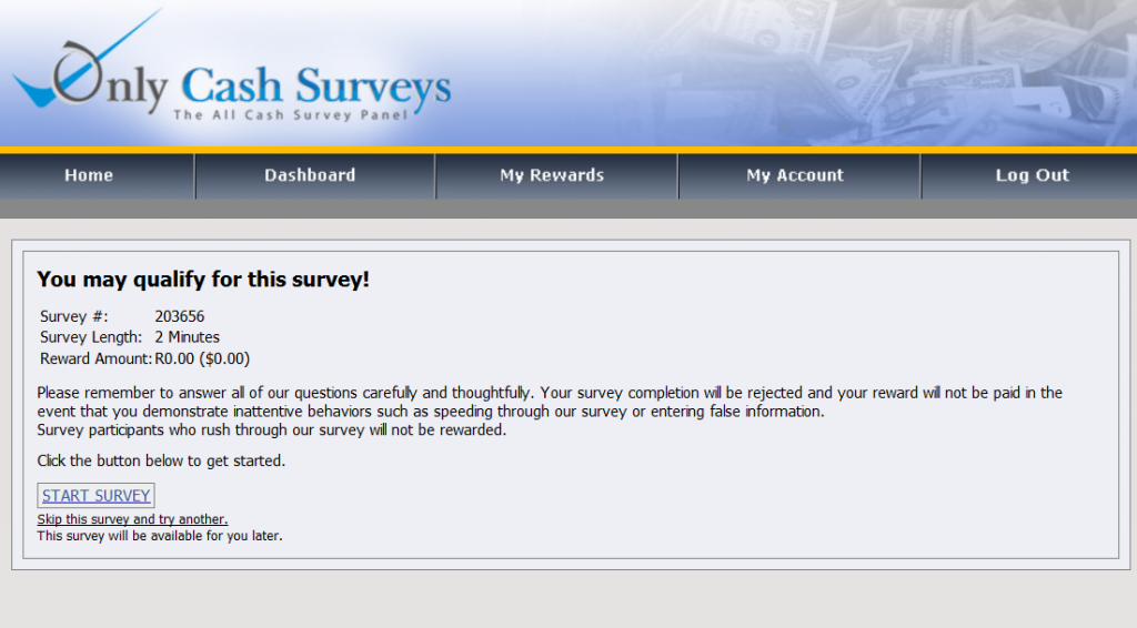 Only Cash Surveys survey example no 1.1