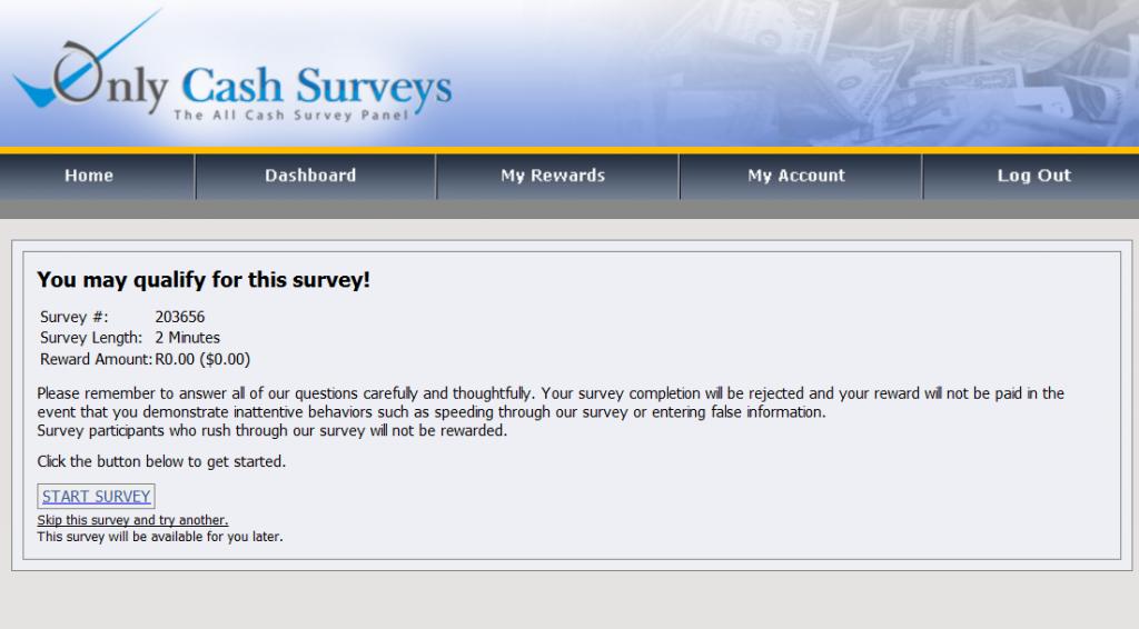 Only Cash Surveys survey example no 1.1