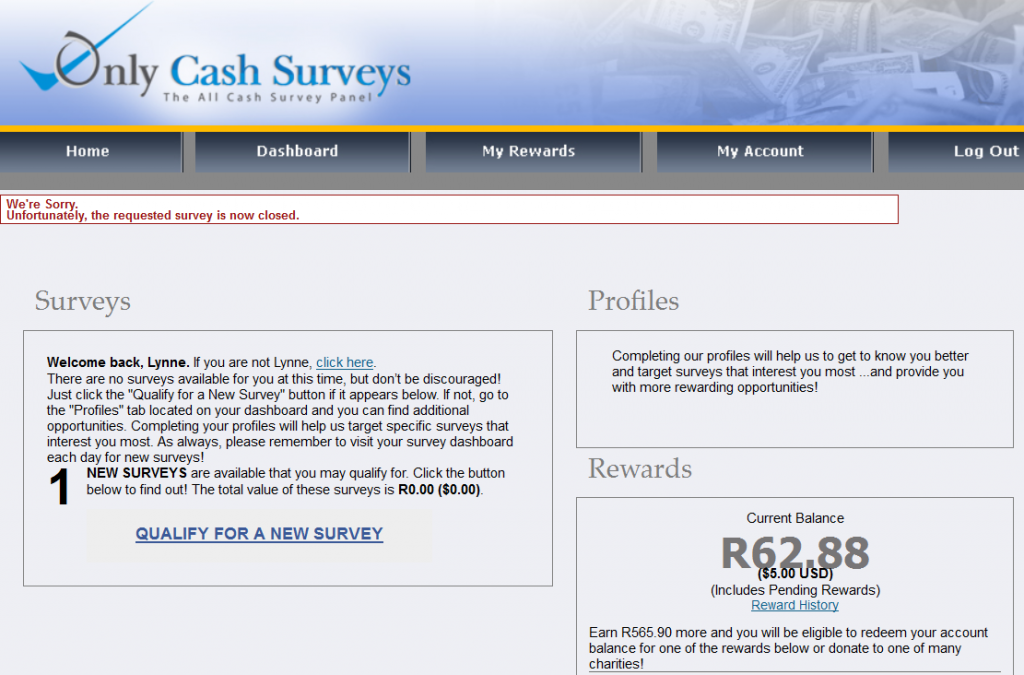 Only Cash Surveys not available