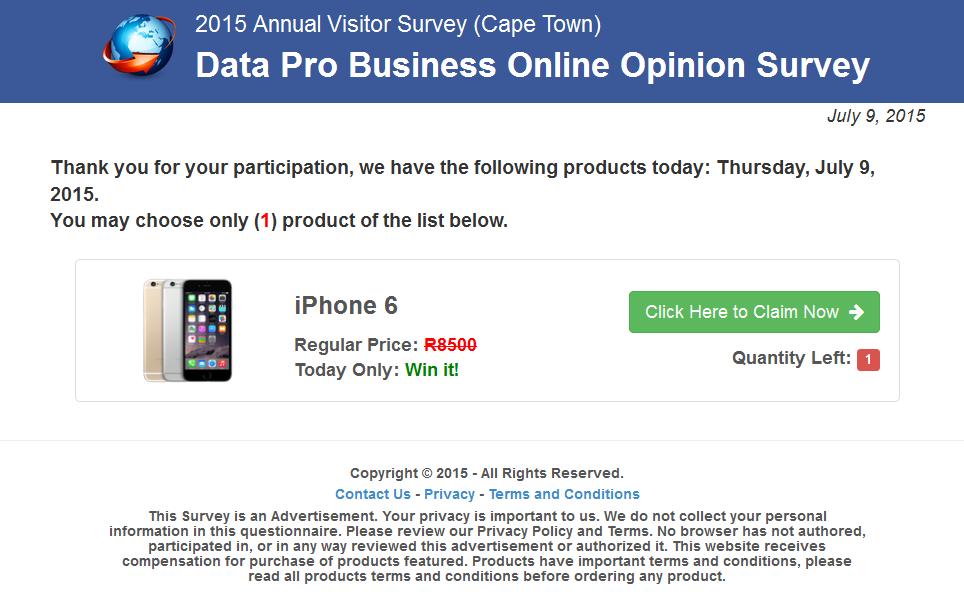 Only Cash Surveys win iphone