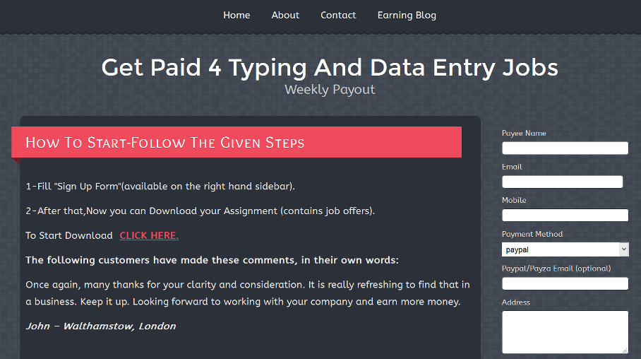 Can you make money typing from home data entry