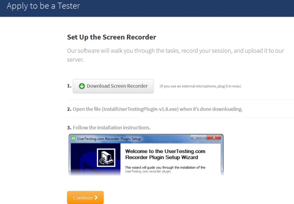 User Testing Register