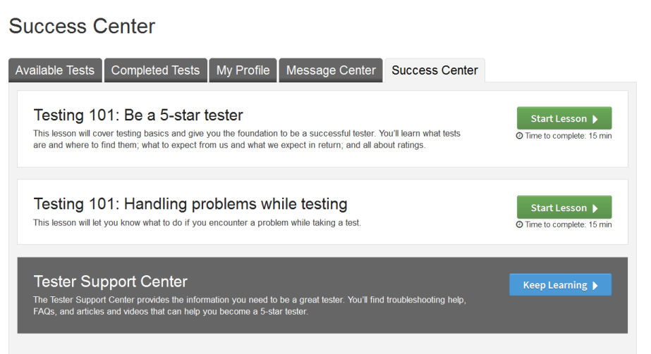 User Tester Training