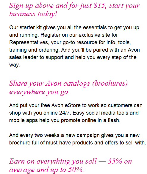 What does it cost to be an Avon representative