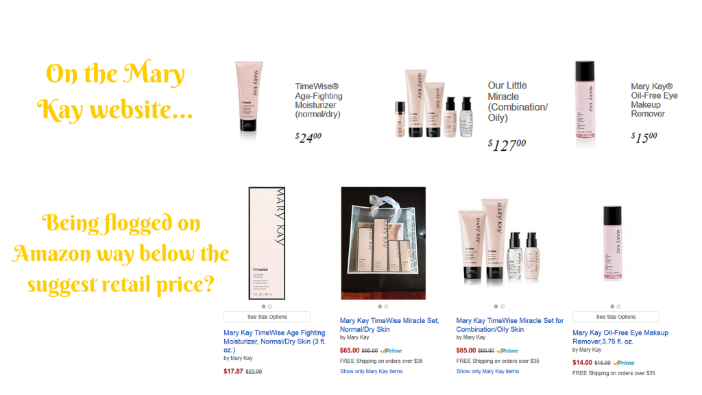 Mary Kay products being flogged on Amazon