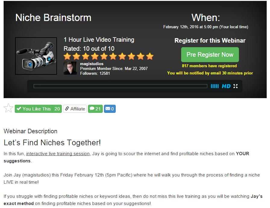 Niche Brainstorm Live Webinar