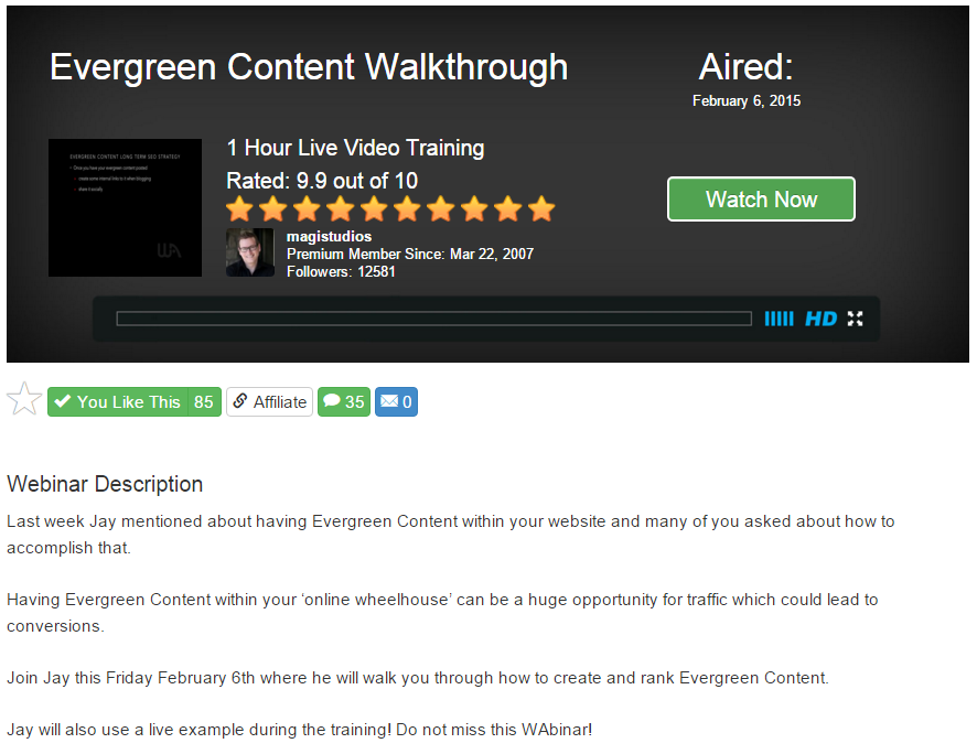 Evergreen Content Walkthrough