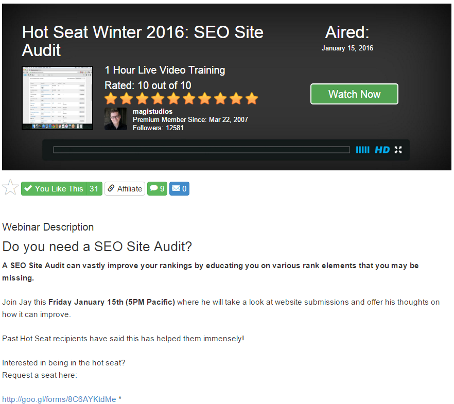 SEO site audit hot seat