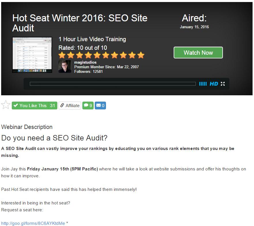 SEO site audit hot seat