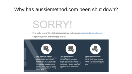 Why has aussiemethod.com been shut down?