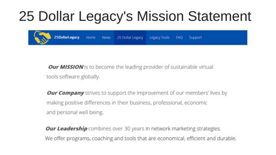 25 Dollar Legacy Mission Statement