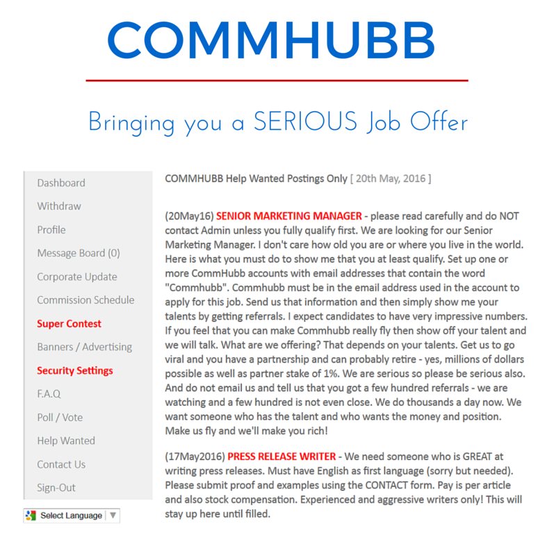 commhubb job offer