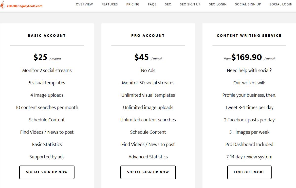 25 Dollar Legacy Social Media Tools
