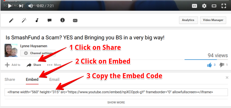 how to embed a youtube video in to a wordpress post