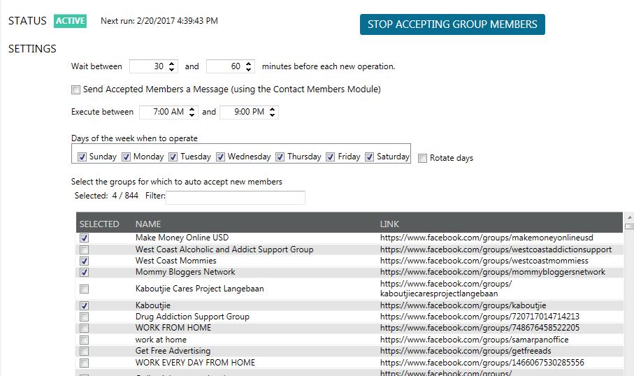 Mass Planner Accept Facebook Group Members