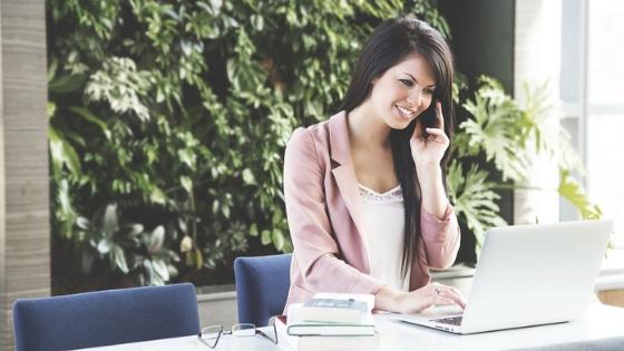 Woman using work phone