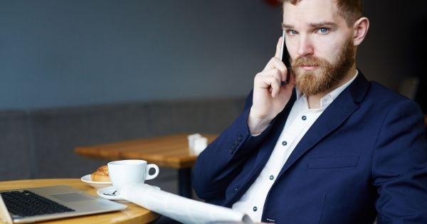 Man conducting business deals